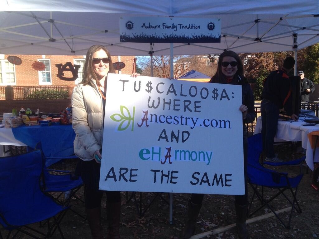 auburn vs alabama e harmony sign Best SNARKY Signs from the College Football Weekend